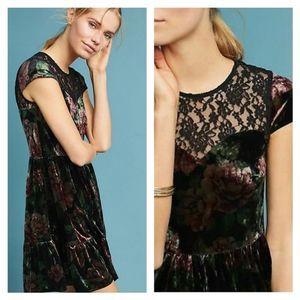 NWT Anthropologie Deletta Velvet Mini Swing Dress